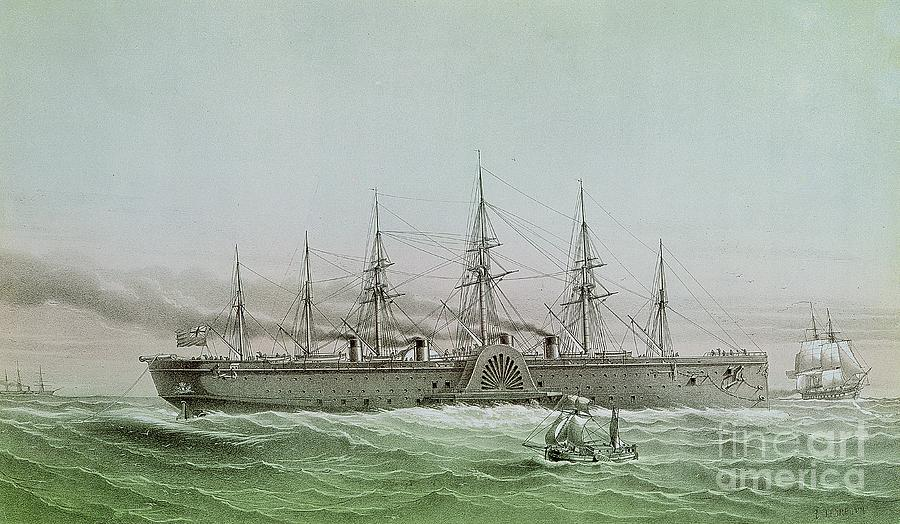 Ship Painting - The Great Eastern Laying Electrical Cable Between Europe And America by Louis Le Breton