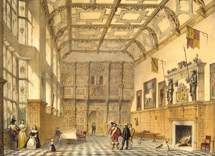 Elizabethan Drawing - The Great Hall, Hatfield, Berkshire by Joseph Nash
