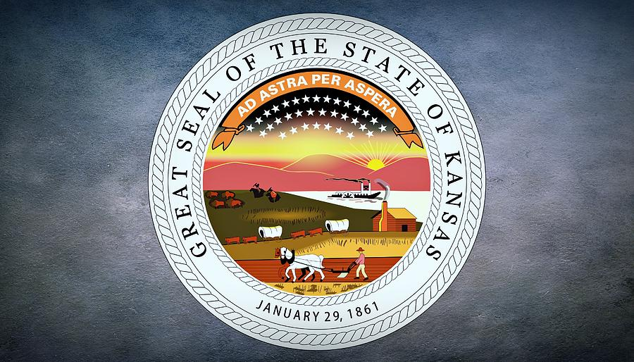 Kansas Photograph - The Great Seal Of The State Of Kansas  by Movie Poster Prints