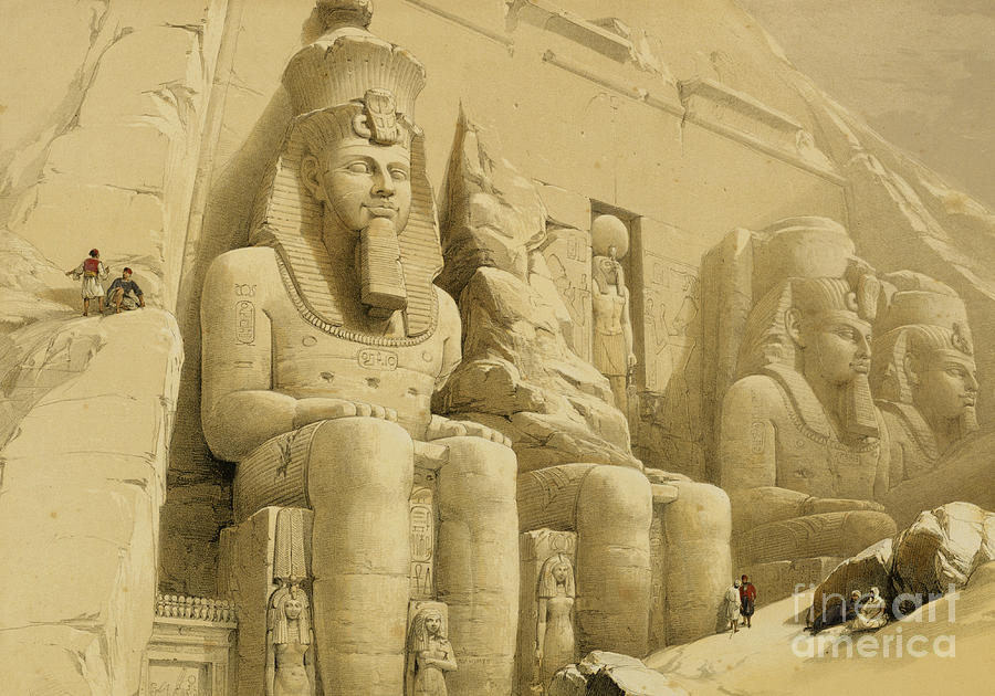 Facade Painting - The Great Temple Of Abu Simbel by David Roberts