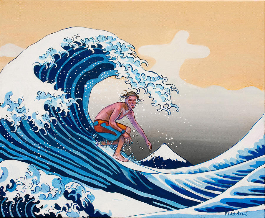 Surfer Painting - The Great Wave Amadeus Series by Dominique Amendola