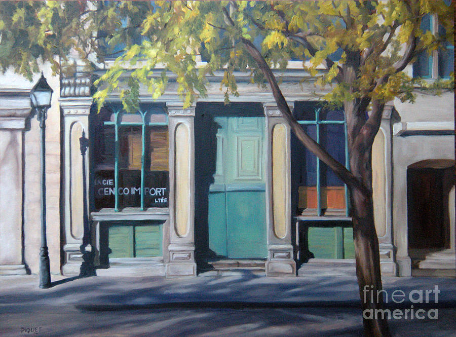 Street Scene Painting - The Green Door  Old Montreal by Rita-Anne Piquet