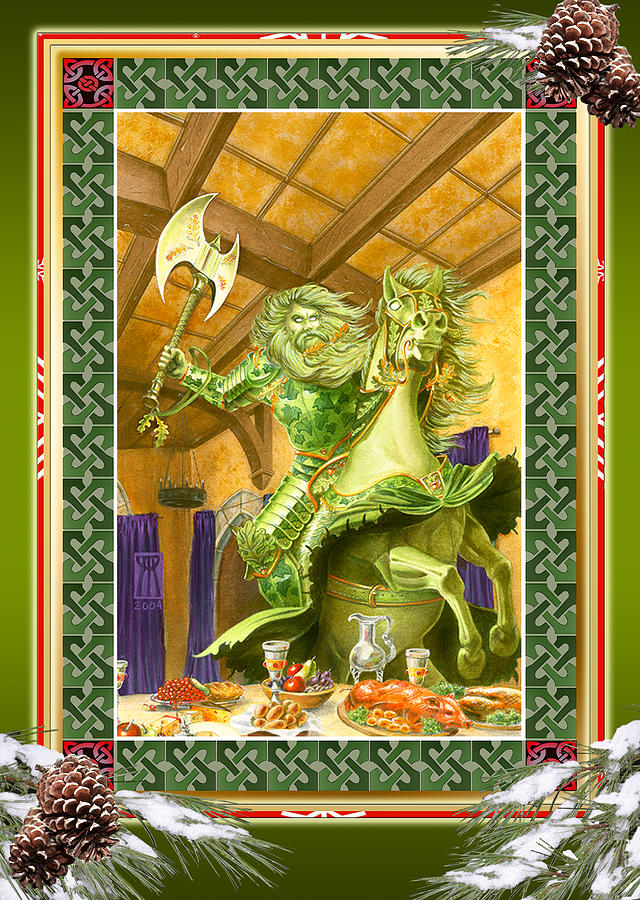 Christmas Painting - The Green Knight Christmas Card by Melissa A Benson