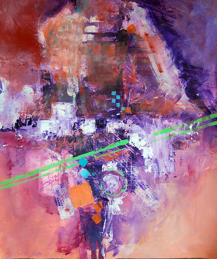 Abstract Painting - The Green Line by Ron Stephens