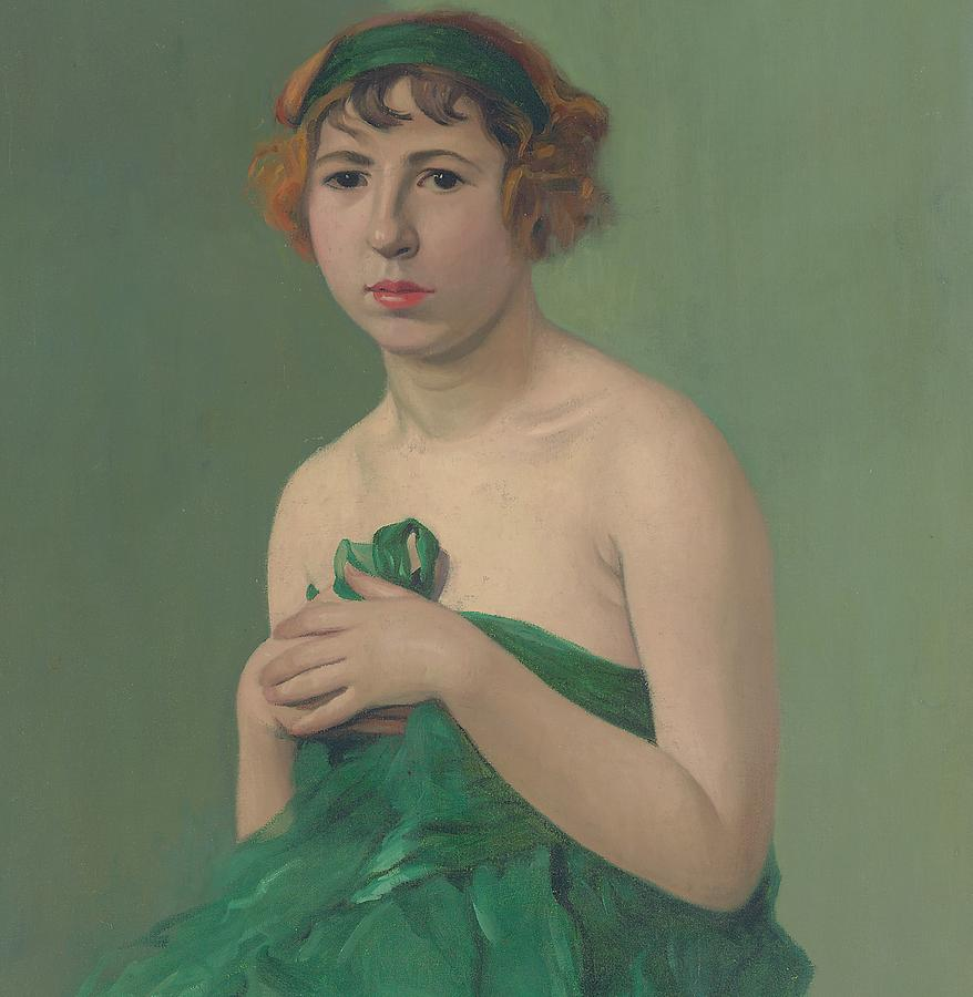 Green; Ribbon; Drapery; Female; Half Length; Seated; Hairband; Headband; Nabis; Les Nabis; Thoughtful; Contemplative; 1910s Painting - The Green Ribbon by Felix Edouard Vallotton