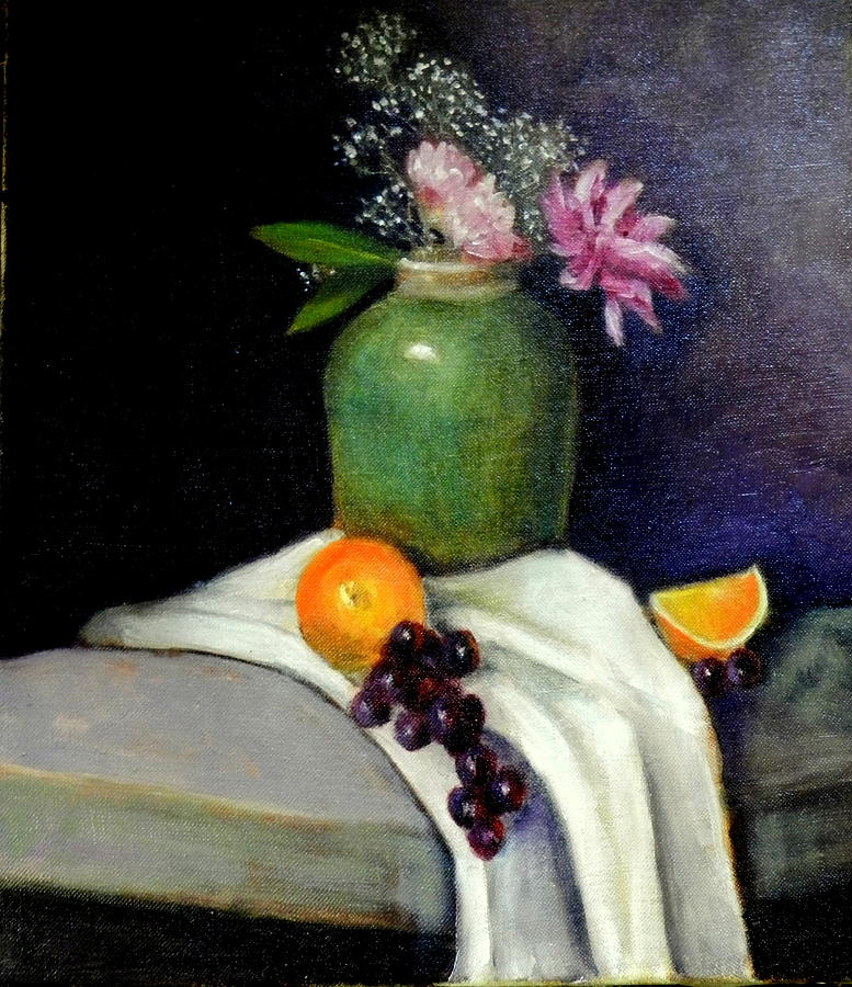 Still Life Painting - The Green Vase by Lenore Gaudet