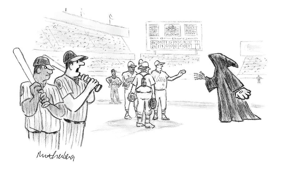 The Grim Reaper Is A Relief Pitcher Drawing by Mort Gerberg