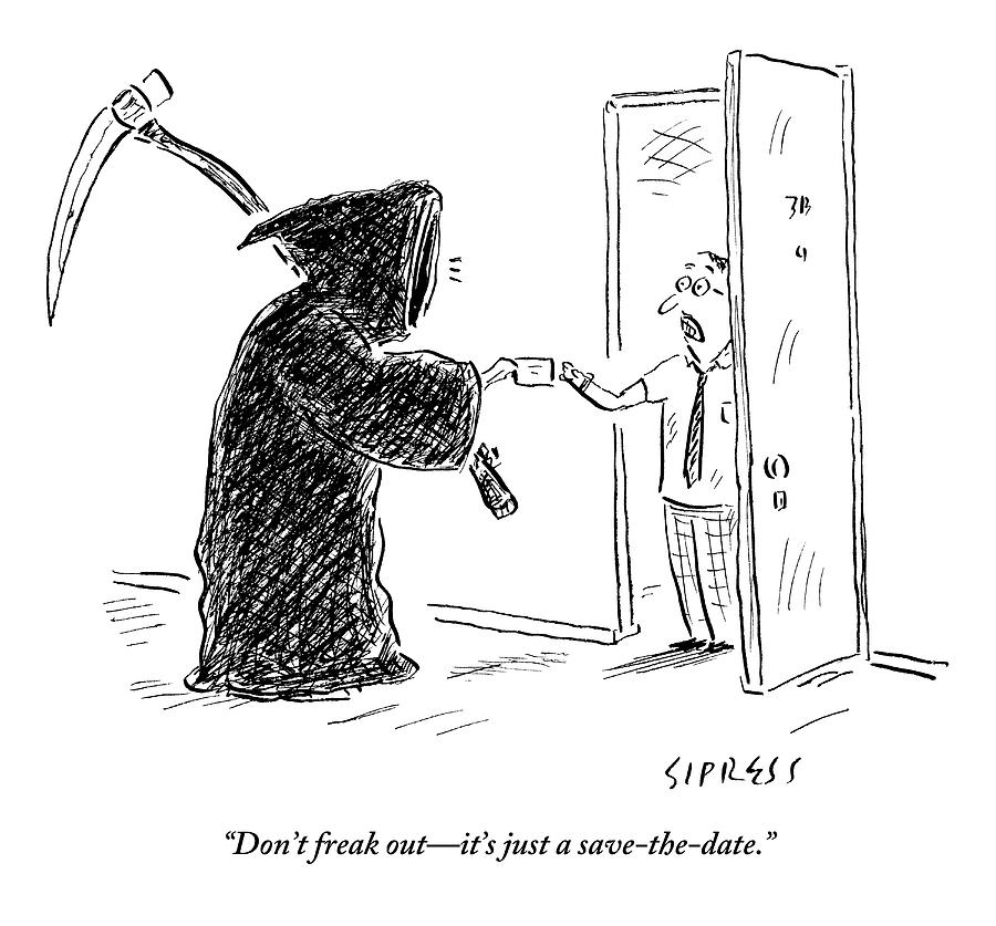 the grim reaper is seen giving a piece of paper drawing by david sipress