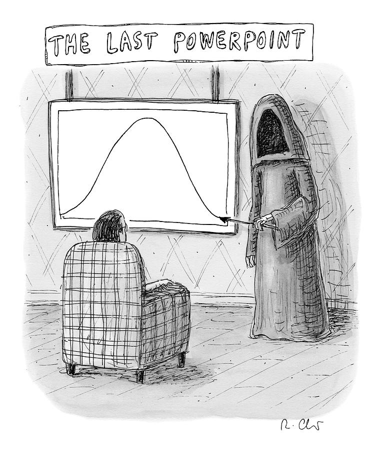 The Grim Reaper Points To A Screen As A Man Drawing by Roz Chast