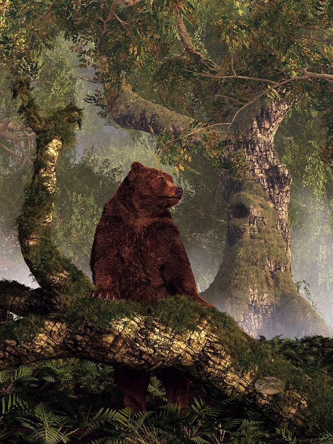 Bear Digital Art - The Grizzlys Forest by Daniel Eskridge