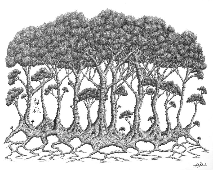 Tree Drawing - The Grove by Robert Fenwick May Jr
