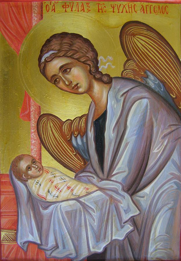 Angel Painting - The Guardian Angel Soul by Olga Krasanaki