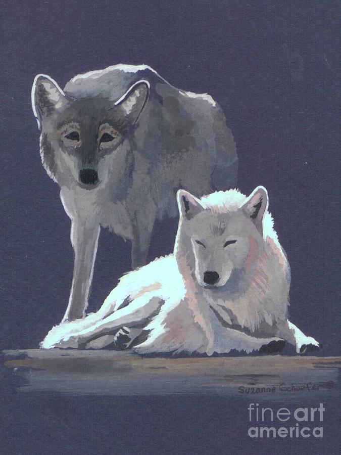 Wolves Painting - The Guardian by Suzanne Schaefer