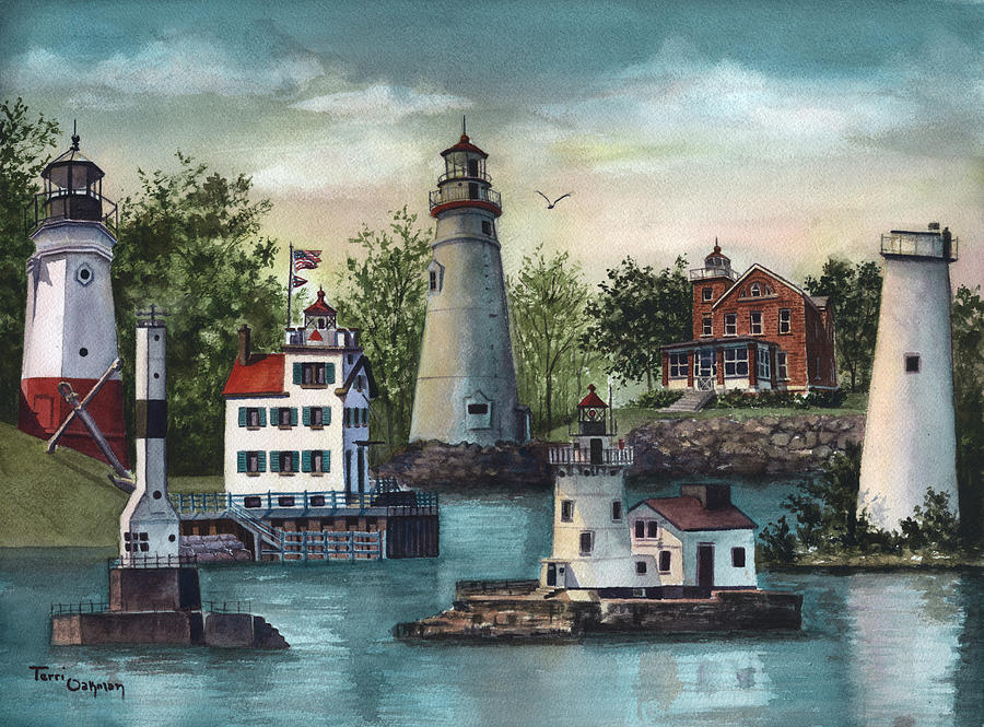 The Guiding Lights of Ohio Painting by Terri  Meyer