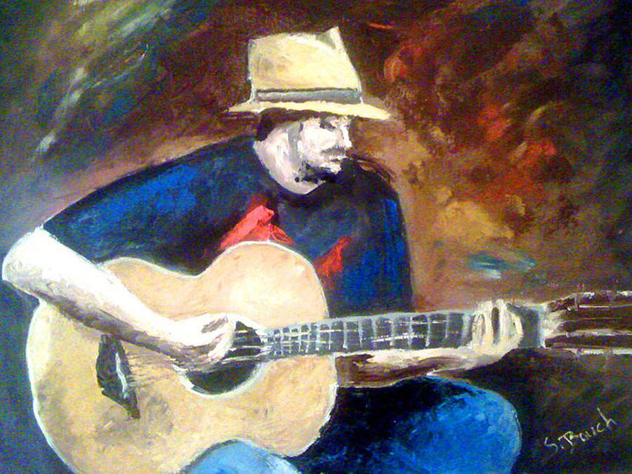Oil Painting - The Guitarist by Soumya Bouchachi