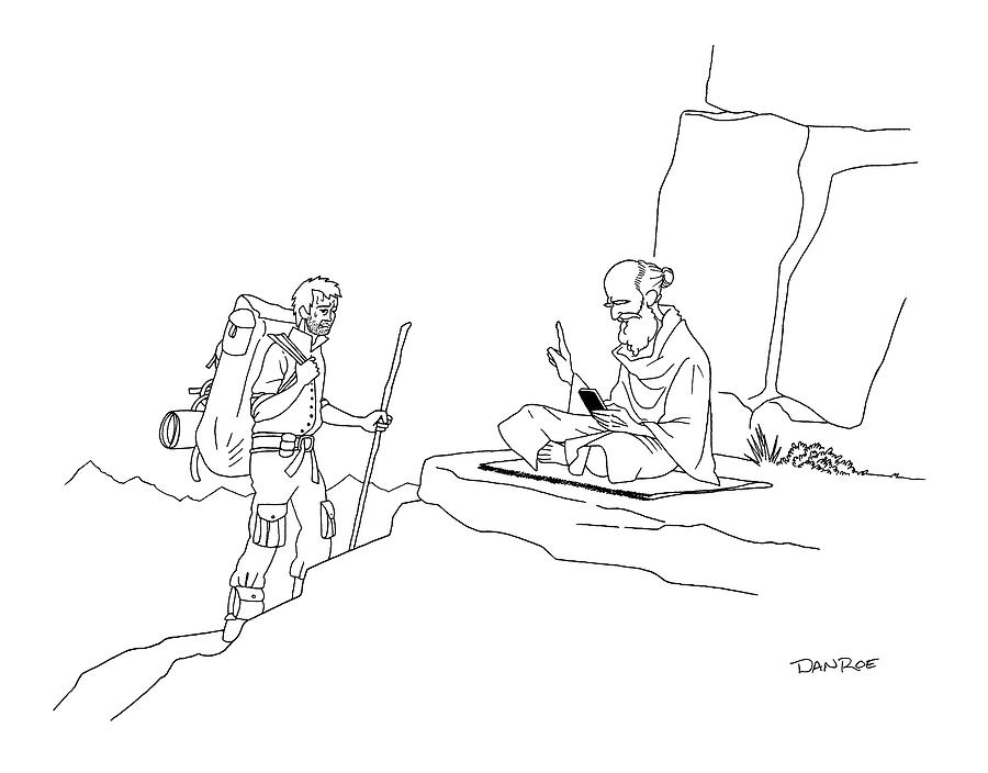 Cell Phone Drawing - The Guru On The Mountain Puts His Finger by Dan Roe