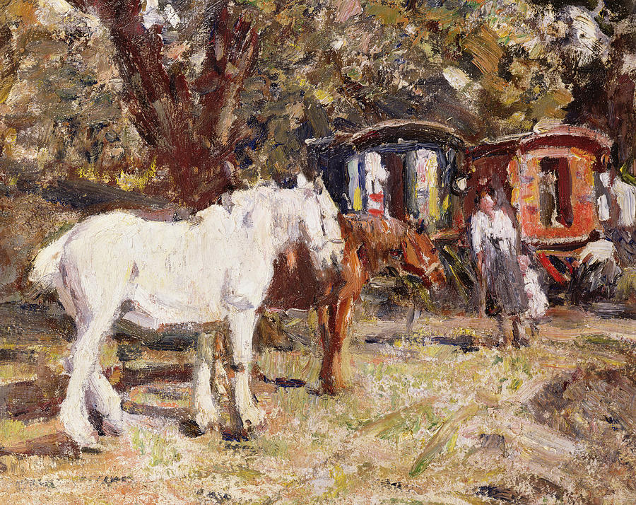 Horse Painting - The Gypsy Encampment by Harry Fidler