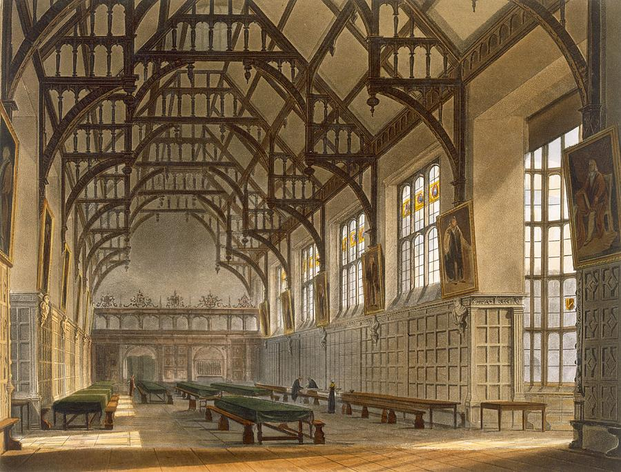 The Hall Of Trinity College, Cambridge by Augustus Charles Pugin
