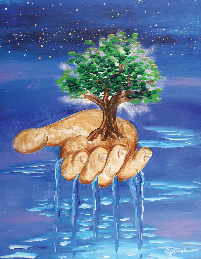 Tree Of Life Painting - The Hand Of The Lord by Gary Rowell