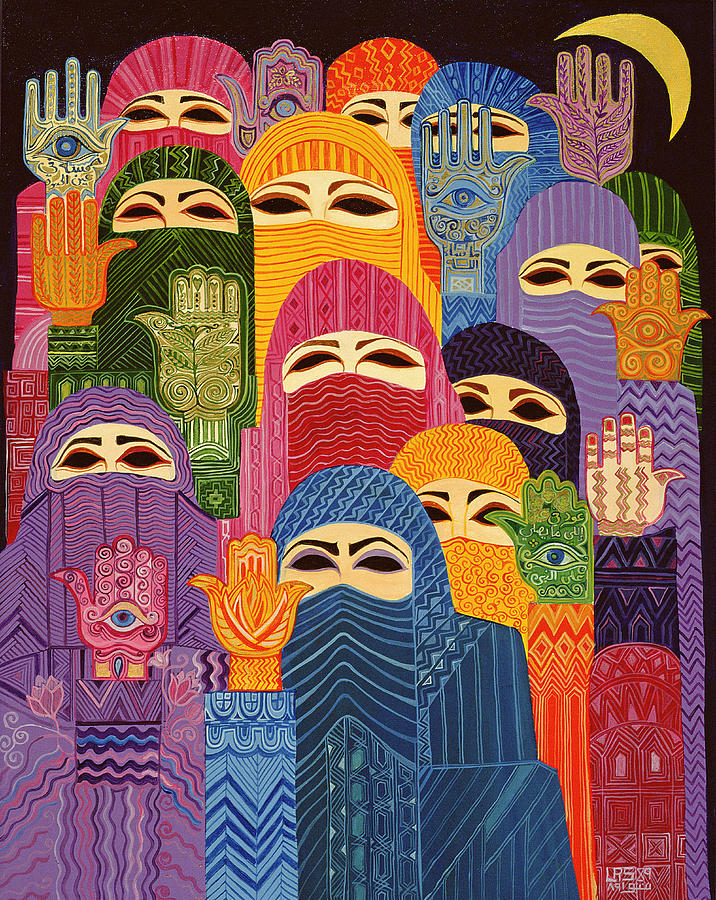 The Hands Of Fatima 1989 Oil On Canvas Photograph By Laila Shawa