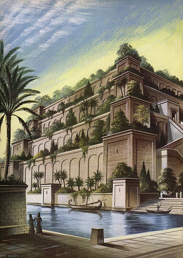 The hanging gardens of babylon colour litho photograph by english school for When was the hanging gardens of babylon destroyed