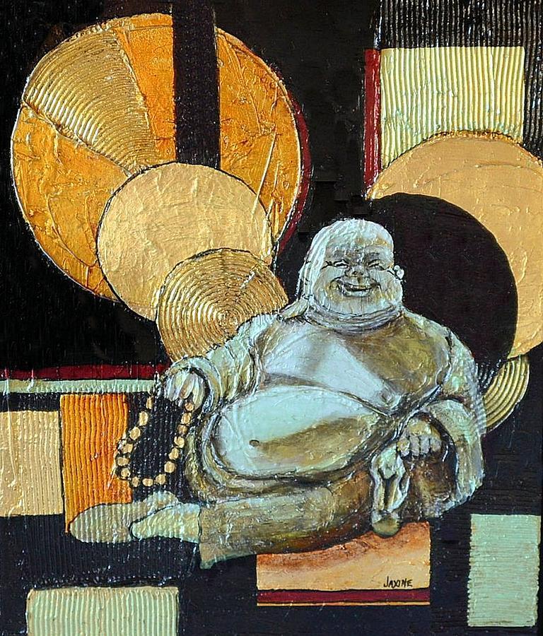 Buddha Painting - The Happy Buddha by JAXINE Cummins