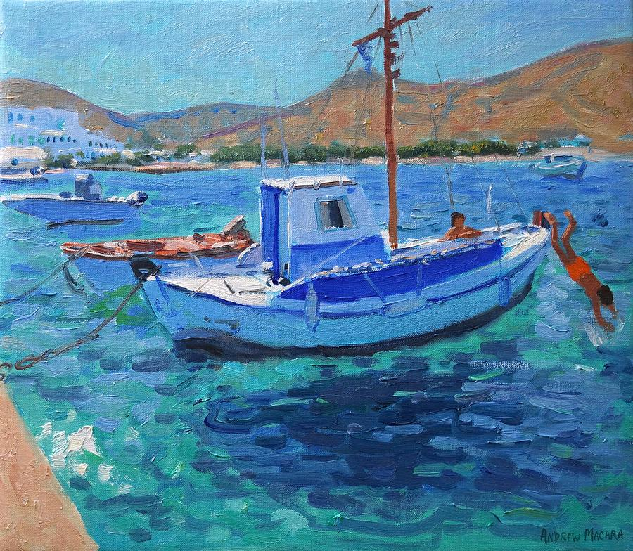 Harbor Painting - The Harbor  Tinos by Andrew Macara