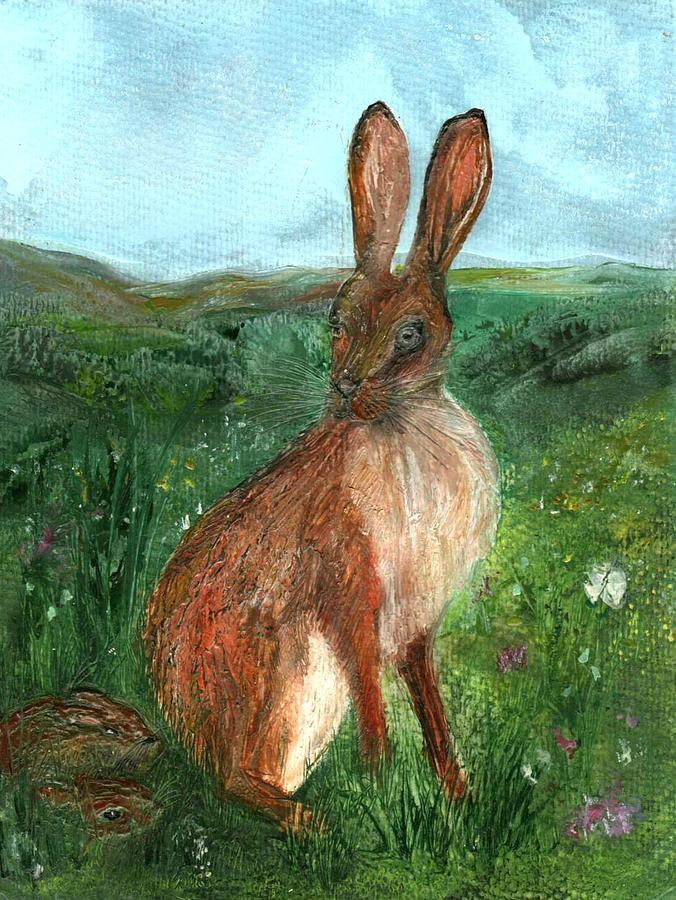 Encaustic Painting - The Hare by Carol Rowland