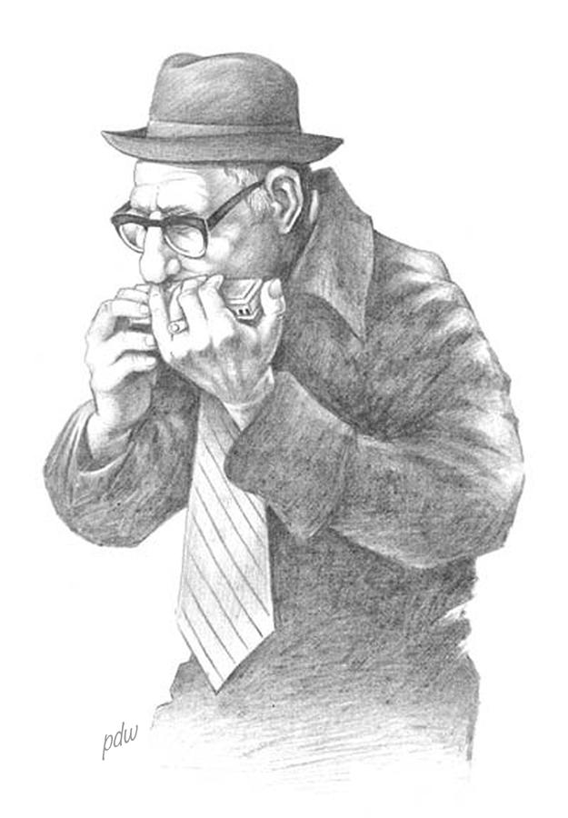 The Harmonica Player Drawing by Philip White