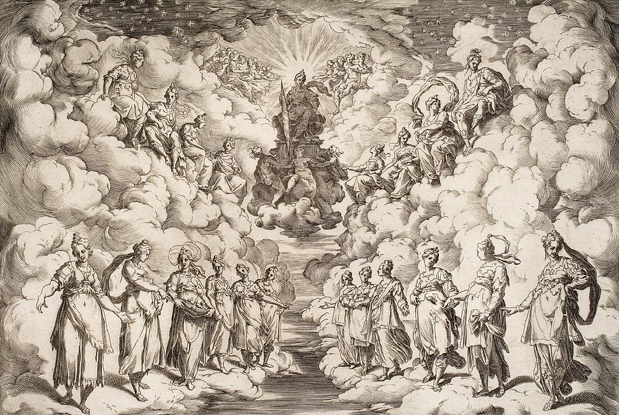 Harmony Of The Spheres Drawing - The Harmony Of The Spheres by Agostino Carracci