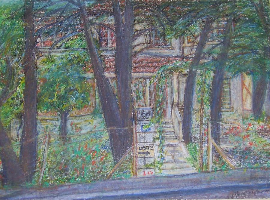 Old House Drawing - The Haunted House In Talpiot Jerusalem by Esther Newman-Cohen