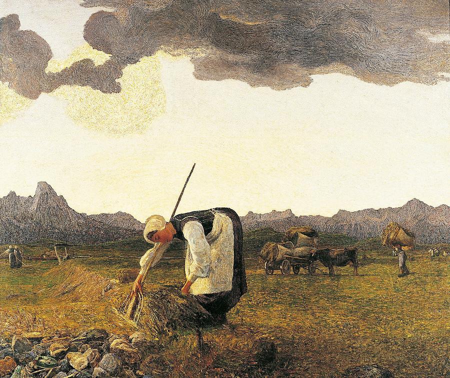 Post-impressionism Painting - The Hay Harvest  by Giovanni Segantini