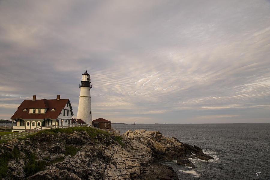 Lighthouse Photograph - The Head Light by Karol Livote