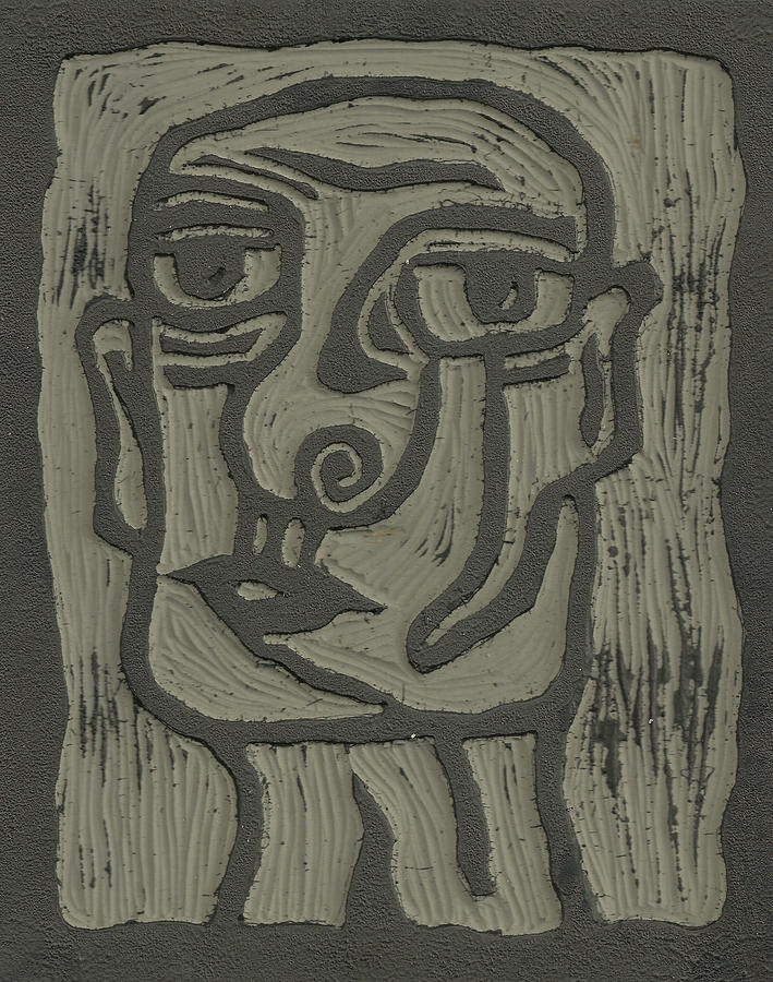 The Head Linoleum Block Carving Drawing by Shawn Vincelette