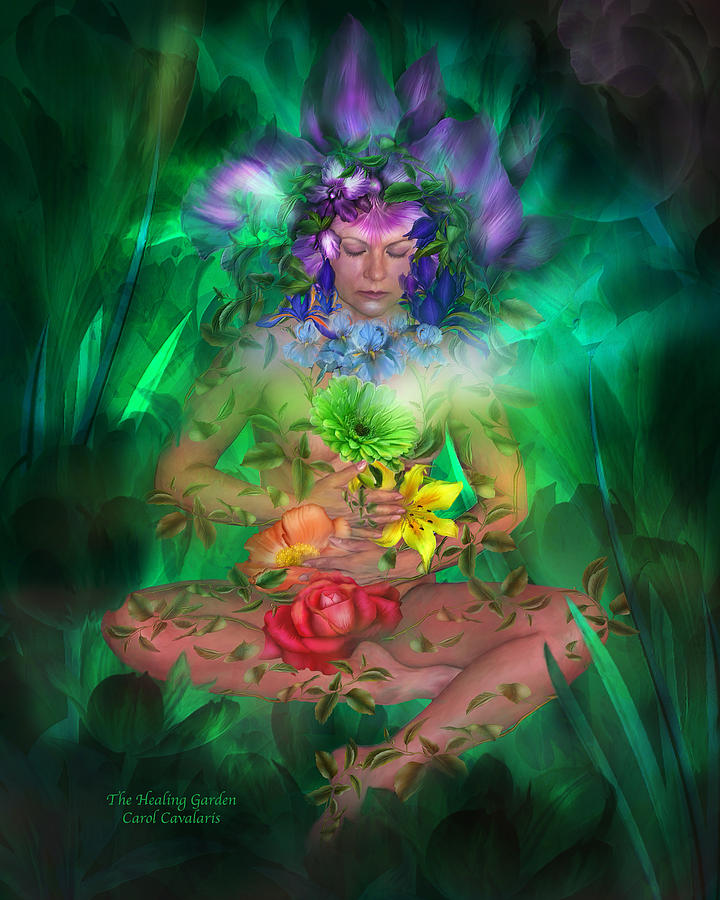Chakra Art Painting Mixed Media - The Healing Garden by Carol Cavalaris