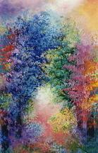 Trees Painting - The Healing Garden by Jacqueline De Maillard