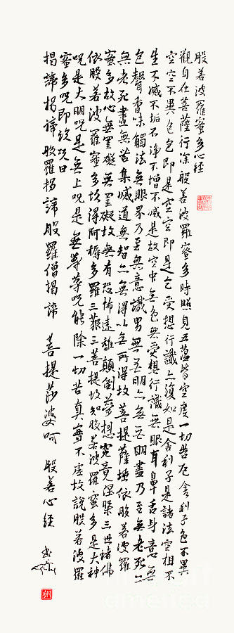 Heart Sutra Painting - The Heart Sutra Brushed In Gyosho by Nadja Van Ghelue