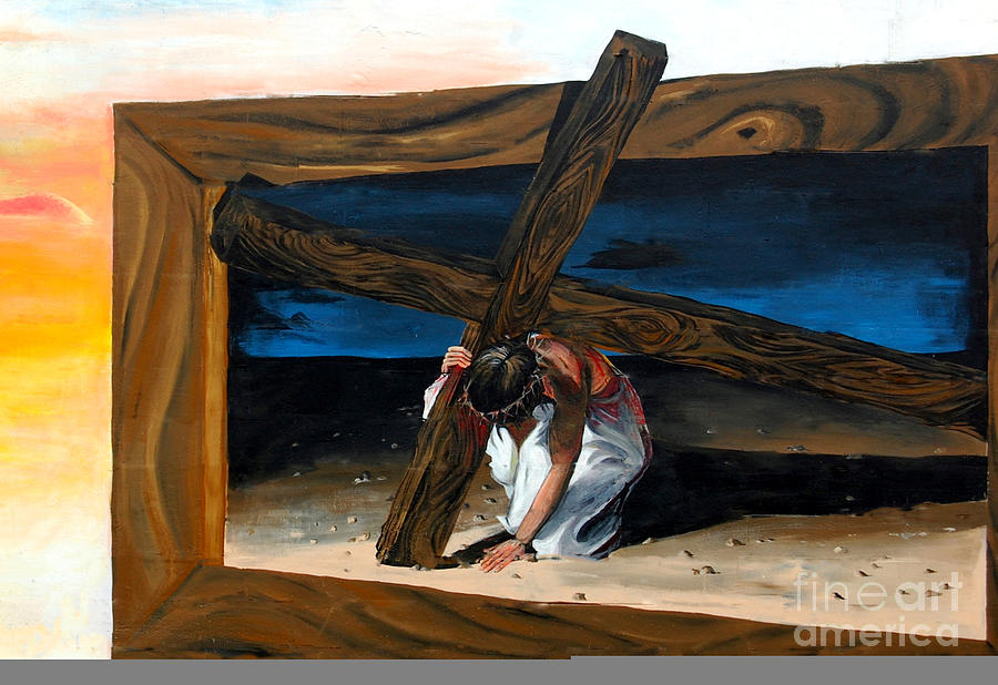 Religious Painting - The Heaviest Cross To Bear by Linda Rae Cuthbertson