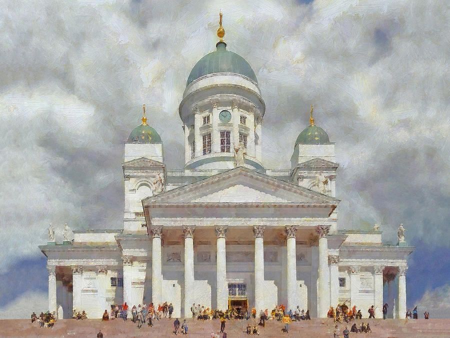 Architecture Digital Art - The Helsinki Cathedral by Digital Photographic Arts