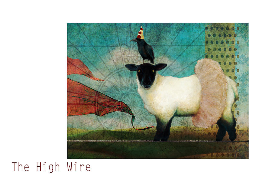 Raven Mixed Media - The High Wire by Katherine DuBose Fuerst