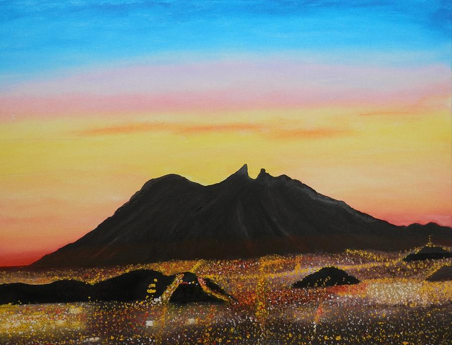 City Lights Painting - The Hill Of Saddle Monterrey Mexico by Jorge Cristopulos