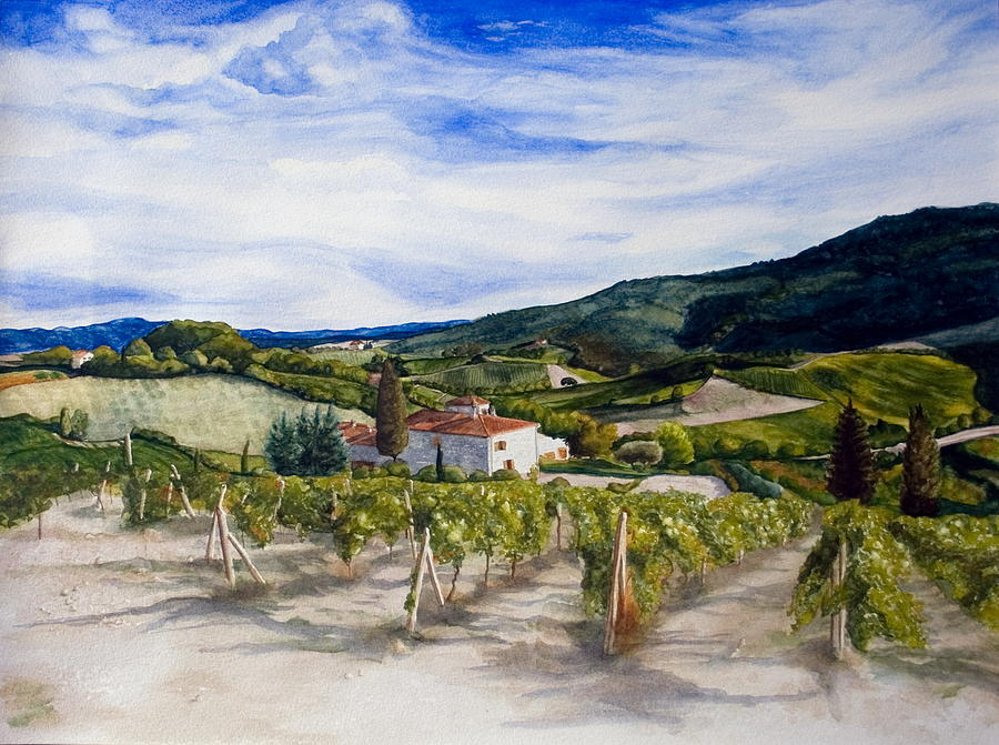 Landscape Painting - The Hills Of Tuscany by Monika Degan