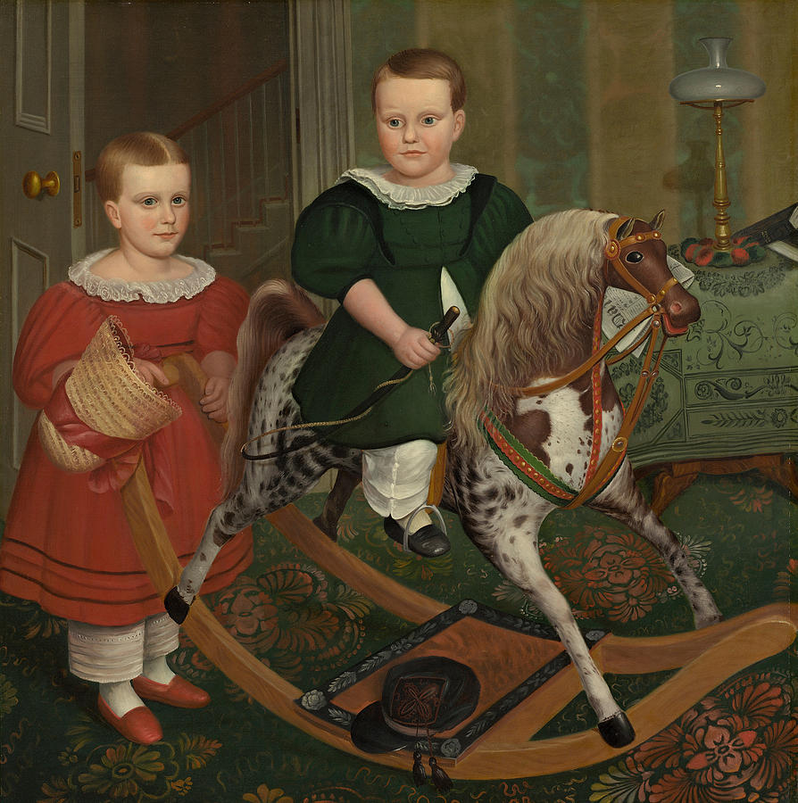 The Hobby Horse Painting - The Hobby Horse by American School