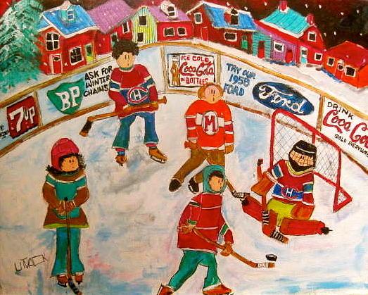 1950's Hockey Game Painting - The Hockey Rink by Michael Litvack