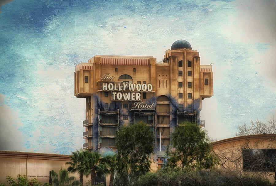 Disney Photograph - The Hollywood Tower Hotel Disneyland Textured Sky by Thomas Woolworth