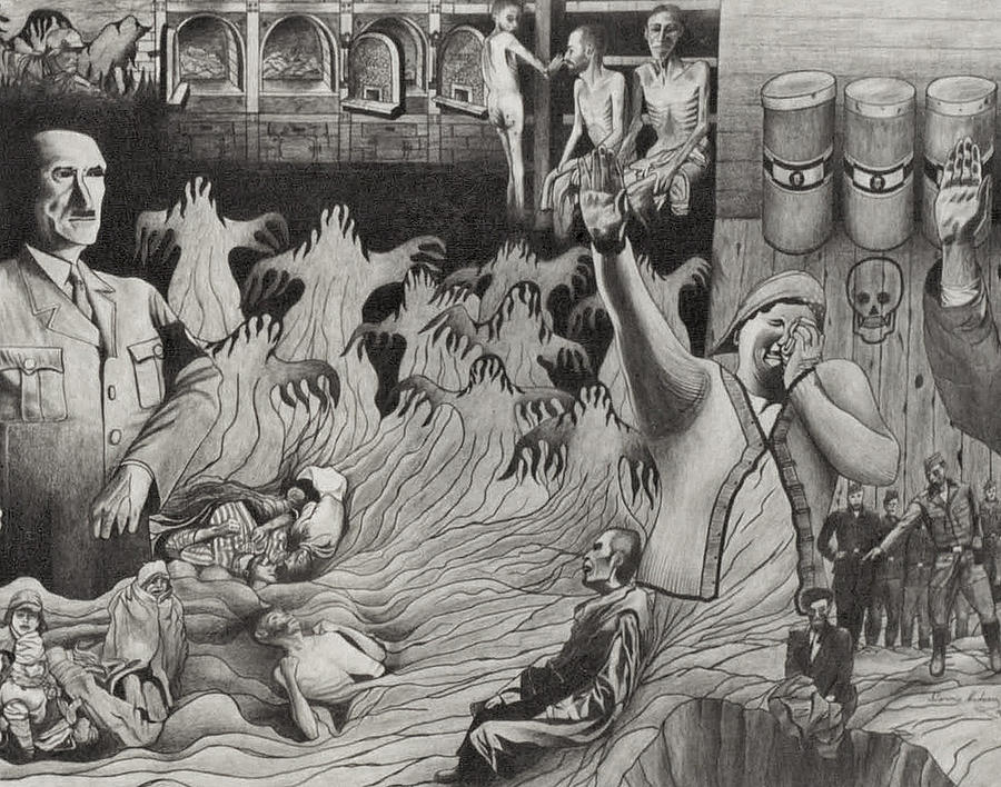 Hitler Drawing Drawing - The Holocaust by Dennis Nadeau