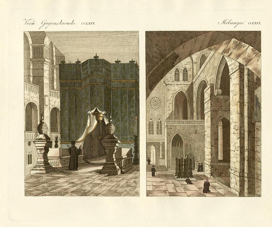 Buildings Drawing - The Holy Sepulcher Of Jerusalem by Splendid Art Prints