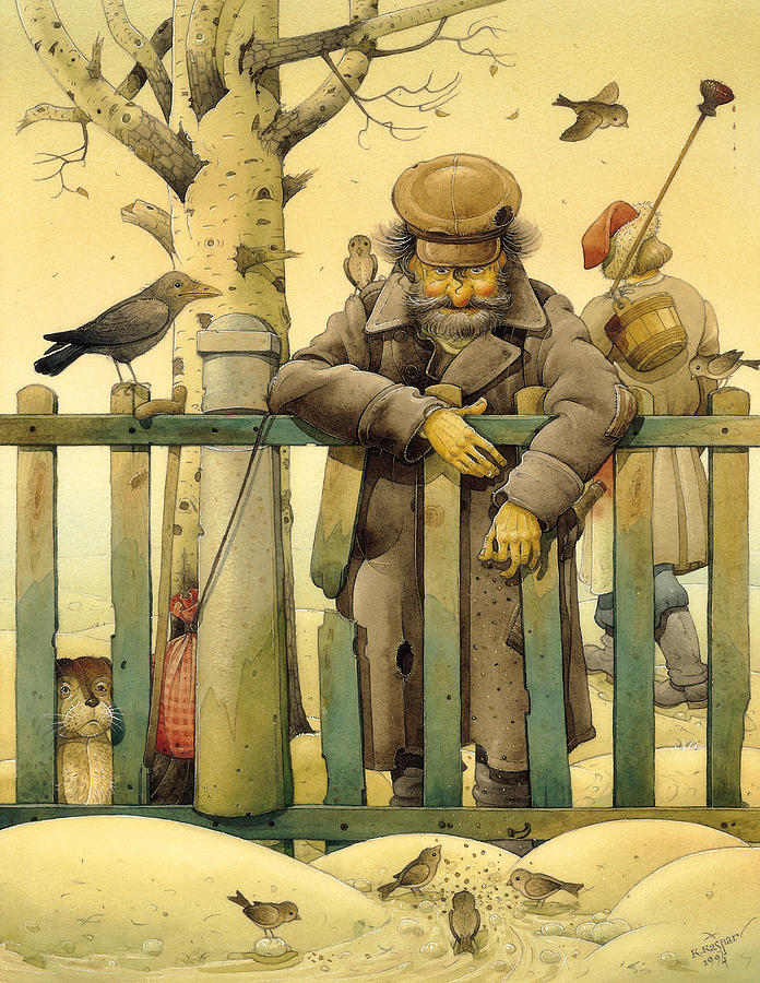 The Honest Thief 02 Illustration For Book By Dostoevsky Painting by Kestutis Kasparavicius