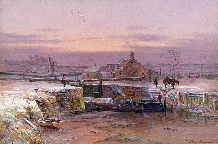 Winter Painting - The House By The Canal by Charles Brooke Branwhite