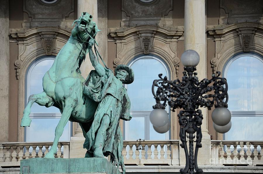 Statue Photograph - The Hungarian Horse Wrangler Budapest Hungary by Imran Ahmed